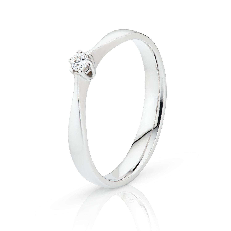 Gouden damesring met een briljant geslepen diamant