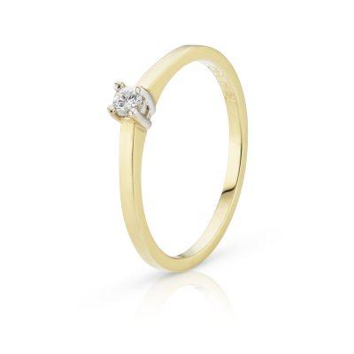 Bicolor gouden ring met een briljant geslepen diamant
